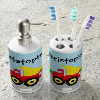 Kid's Red/Yellow Dump Truck on Road Soap Dispenser And Toothbrush Holder