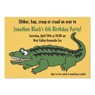 Kids Reptile Alligator Birthday Party Invitation
