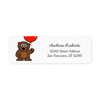 Kids return address labels with cute teddy bear