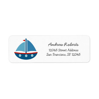 Kids return address labels with nautical toy boat