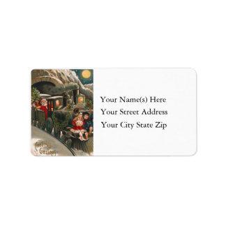 Kids Ride Santa Claus Train Vintage Personalized Address Labels
