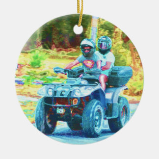 Kids Riding an ATV All Terrain Vehicle on Road Ceramic Ornament