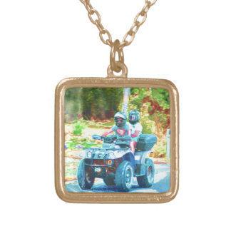 Kids Riding an ATV All Terrain Vehicle on Road Necklaces