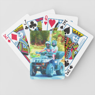 Kids Riding an ATV All Terrain Vehicle on Road Bicycle Playing Cards