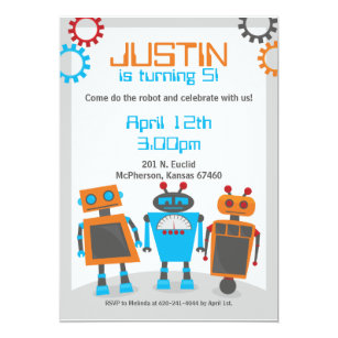 Robot birthday invitations announcements zazzle kids robot birthday party invitations filmwisefo