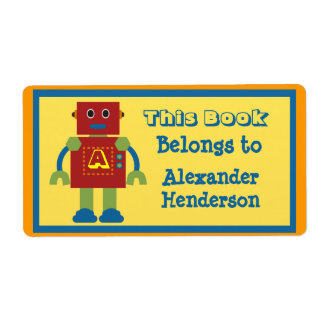 Kids Robot Monogram Book Sticker Personalized Shipping Labels