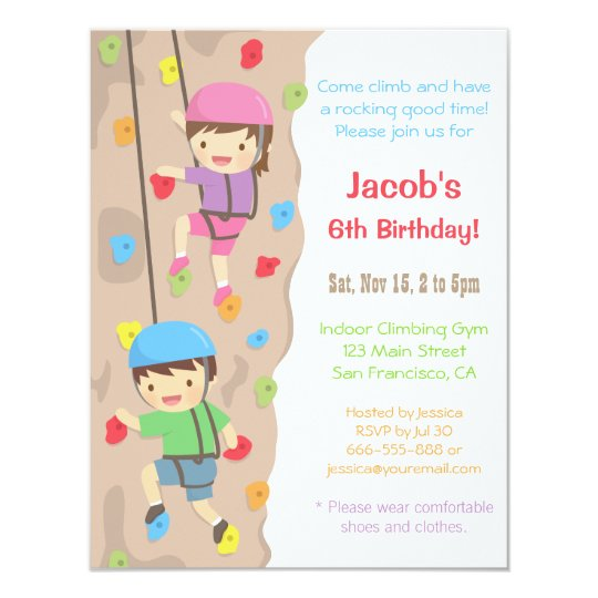 Kids Rock Climbing Birthday Party Invitations Zazzle Com