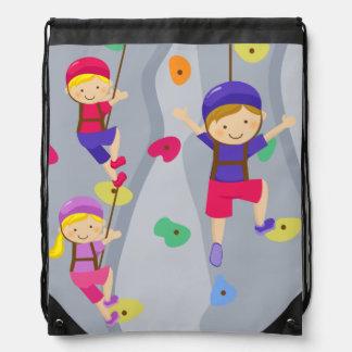 Kids Rock Climbing Wall Drawstring Backpack Bag