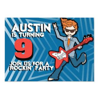 "Kids rockstar boy 9th birthday blue invitation 5"" x 7"" invitation card"