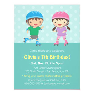 Roller skating invitations announcements zazzle kids roller skating birthday party invitations filmwisefo Gallery