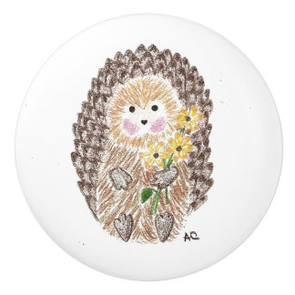 Kids room cheerful hedgehog ceramic knob