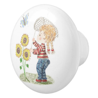 Kids room girl catching a butterfly ceramic knob