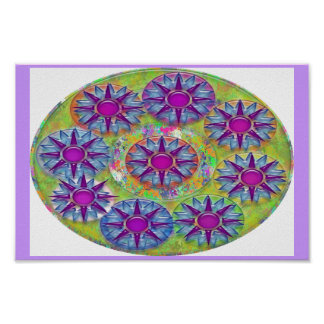 Kids Room Happy Collection  PurpleStars BlueStars Poster