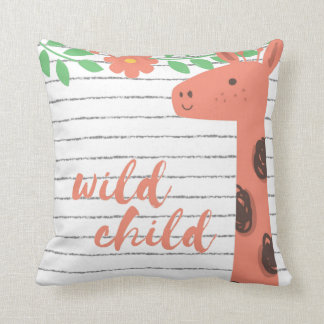 Kid's Room Peach Giraffe Wild Child Throw Pillow