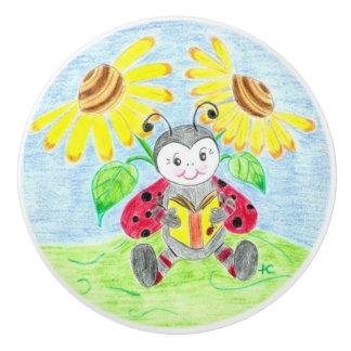 Kids room reading ladybug ceramic knob