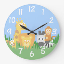 Kids Room - Safari Animals Themed Wall Clock
