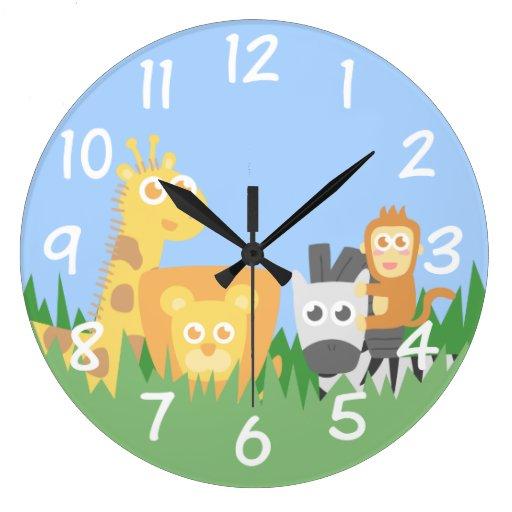 Kids room safari animals themed wall clock zazzle for Kids room clock