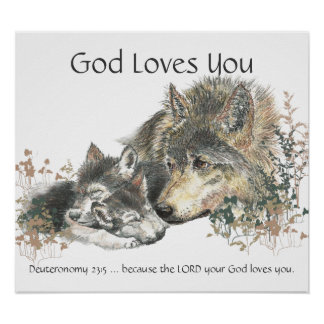Kids Room Scripture, God Loves You Wolf Family Poster