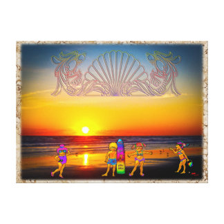 Kids Rule the Beach Sunrise Graphics & Photo Art Gallery Wrapped Canvas