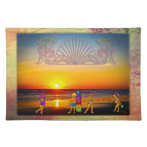 Kids Rule the Beach Sunrise Graphics & Photo Art Placemat