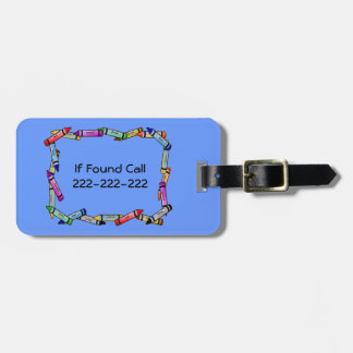 Kids Safety Phone Number ID Crayon Border on Blue Tag For Luggage