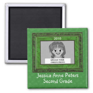 Kid's School Year Personalized Photo Magnet Green