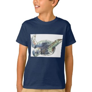 Kids sea turtle ocean beach tee