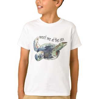 Kids sea turtle ocean beach tee meet me at the sea