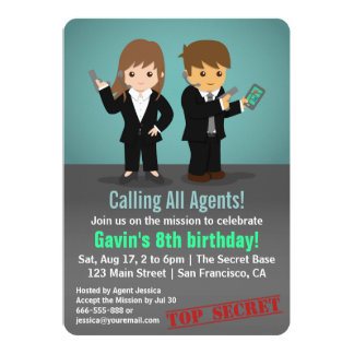 Kids Secret Agent Birthday Party Card