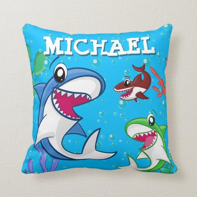 Kids Shark Cartoon Underwater Blue Sea Ocean Boys Throw Pillow