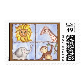Kids Shower Animals Elephant Monkey Party Postage