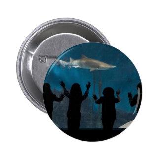 Kids silhouette at aquarium pinback button