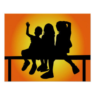Kids Silhouette Poster