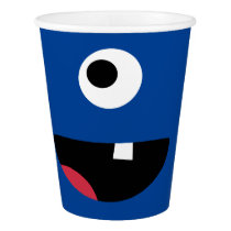 Kids Silly Monster Face Monsters Party Blue Cute Paper Cup