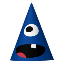 Kids Silly Monster Face Monsters Party Blue Cute Party Hat