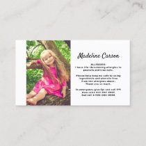 Kids Simple Photo Food Allergy Medical Alert Card