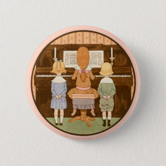 KIDS SINGING, VINTAGE PIANO MUSIC BUTTON