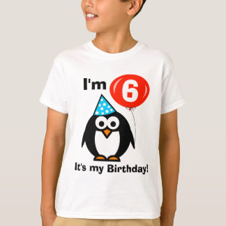 Kids sixth Birthday shirt with cute penguin