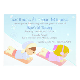 Kids Sledding and Snow Games Winter Birthday Party Card