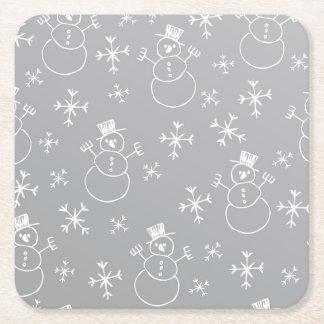 Kids Snowman Pattern Square Paper Coaster