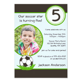 Kids Soccer Ball Photo Birthday Party Invitation 5