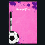 "Kids Soccer Ball Pink Personalized Dry-Erase Board<br><div class=""desc"">A soccer ball on a pink and purple background is featured on this sports themed dry erase board. Perfect for a girl soccer player. Easily personalize with your child&#39;s name!</div>"