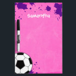 """Kids Soccer Ball Pink Personalized Dry-Erase Board<br><div class=""""desc"""">A soccer ball on a pink and purple background is featured on this sports themed dry erase board. Perfect for a girl soccer player. Easily personalize with your child&#39;s name!</div>"""