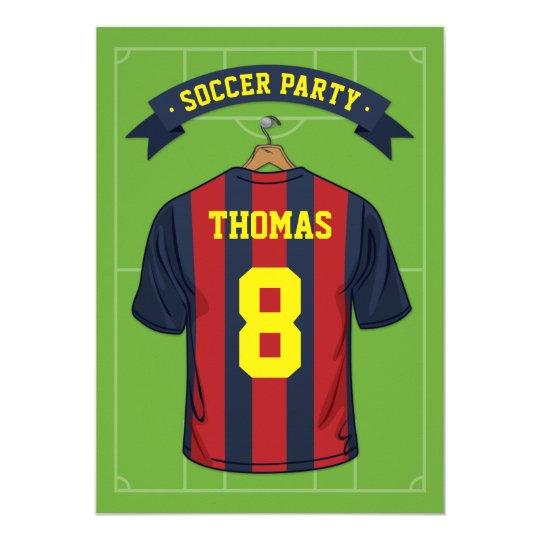 8f5a227c584 Kids Soccer Birthday Party | Burgandy Blue Jersey Invitation ...
