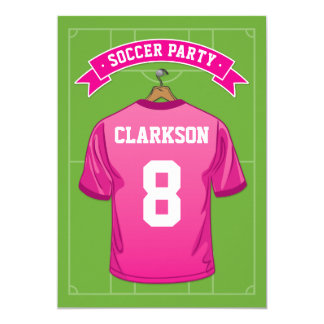 Kids Soccer Birthday Party | Girl Pink Jersey Card