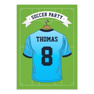 Kids Soccer Birthday Party | Pale Blue Jersey Card