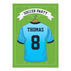 Kids Soccer Birthday Party | Pale Blue Jersey Invitation
