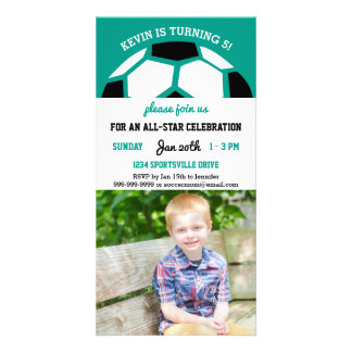 Kids Soccer Birthday Party Sports Themed Photo Card