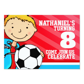Kids soccer / football sports birthday red invite