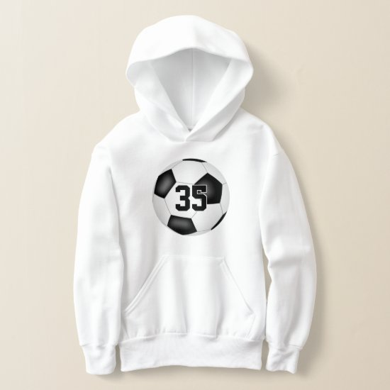 kids soccer hoodie with jersey number